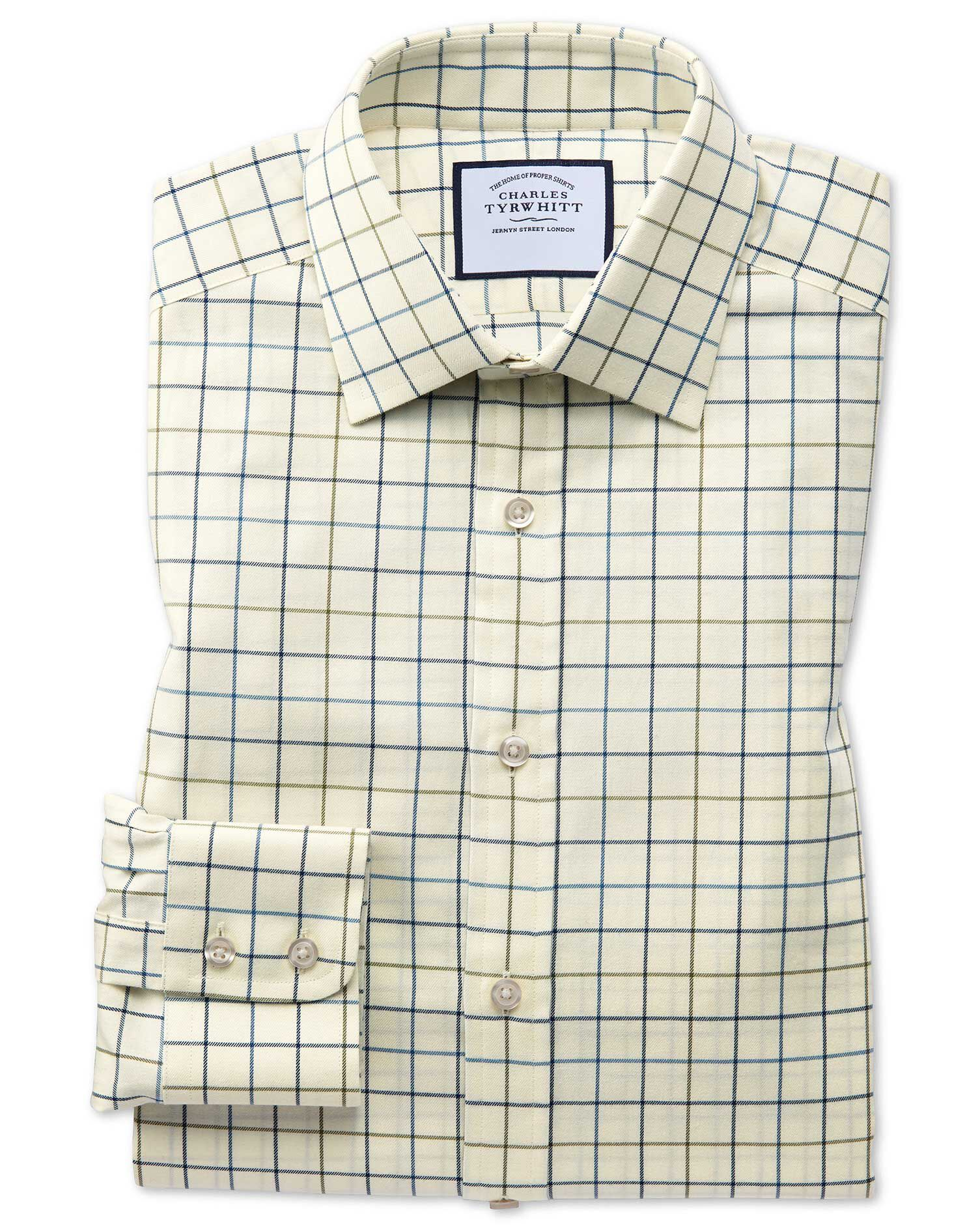 Slim Fit Navy and Green Tattersall Country Check Cotton Formal Shirt Single Cuff Size 17/35 by Charl