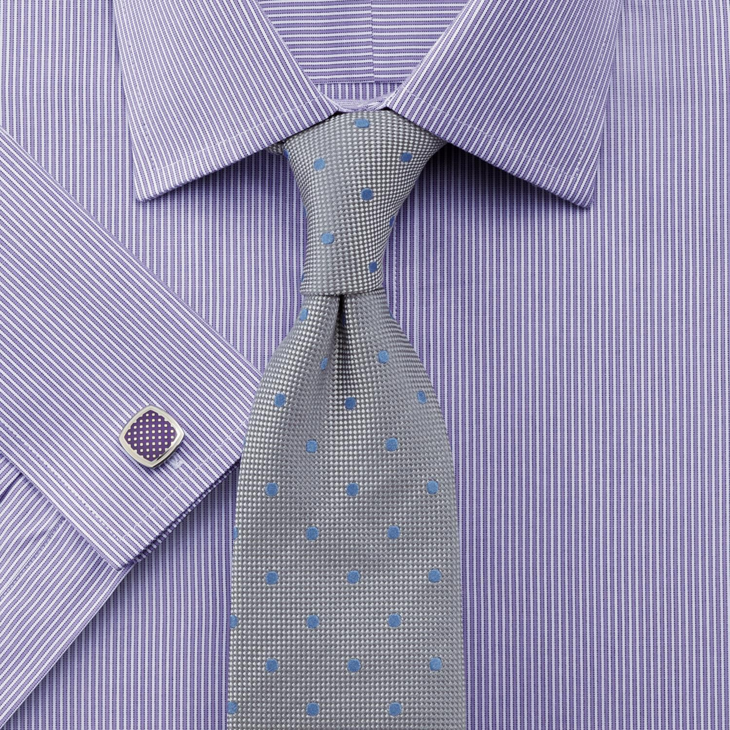 Classic Fit Bengal Stripe Lilac Cotton Formal Shirt Single Cuff Size 15.5/37 by Charles Tyrwhitt