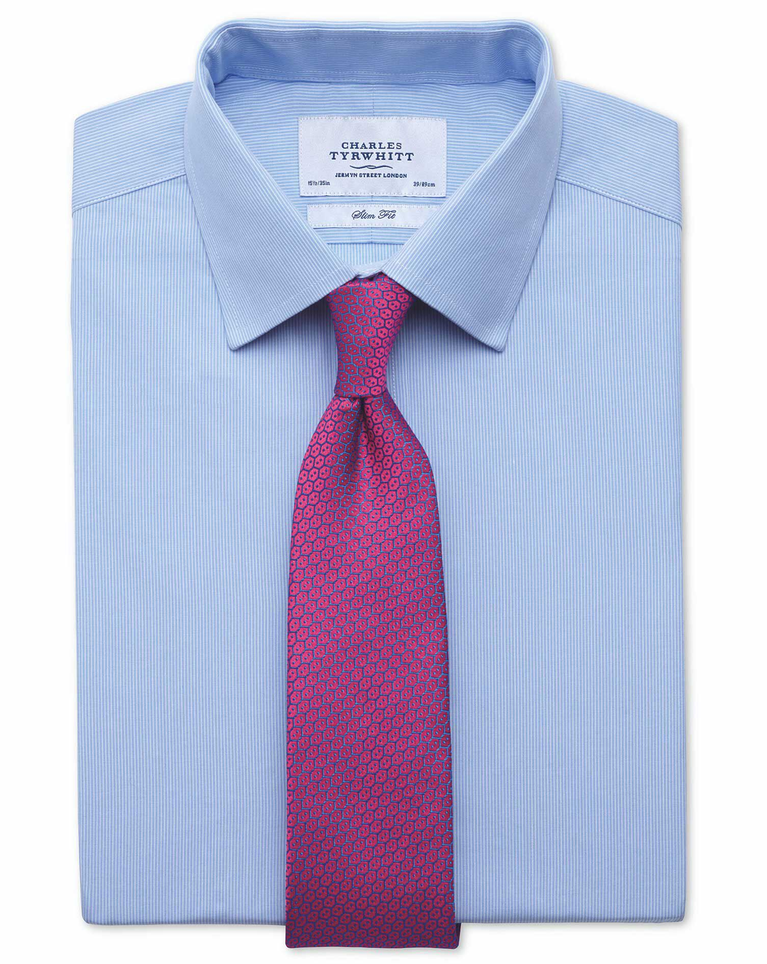 Classic Fit Fine Stripe Sky Blue Cotton Formal Shirt Double Cuff Size 15/33 by Charles Tyrwhitt