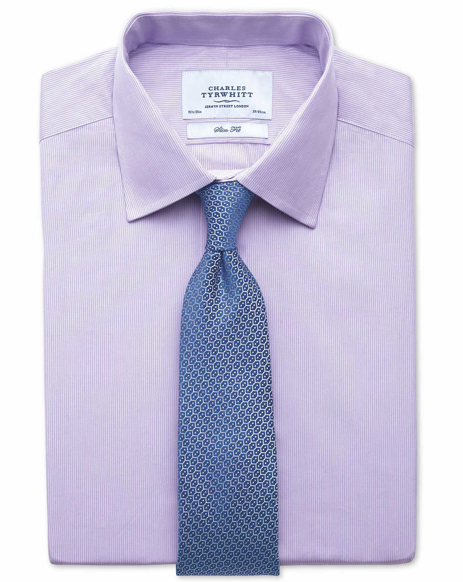 Slim Fit Fine Stripe Lilac Cotton Formal Shirt Double Cuff Size 17/35 by Charles Tyrwhitt
