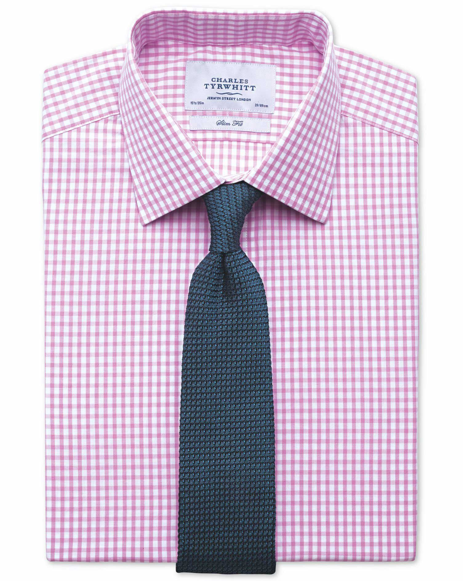 Slim Fit Gingham Pink Cotton Formal Shirt Double Cuff Size 17/37 by Charles Tyrwhitt