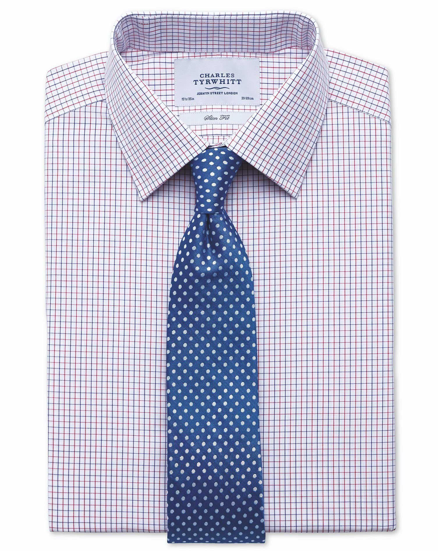 Slim Fit Two Colour Check Red & Blue Cotton Formal Shirt Single Cuff Size 16/36 by Charles Tyrwhitt