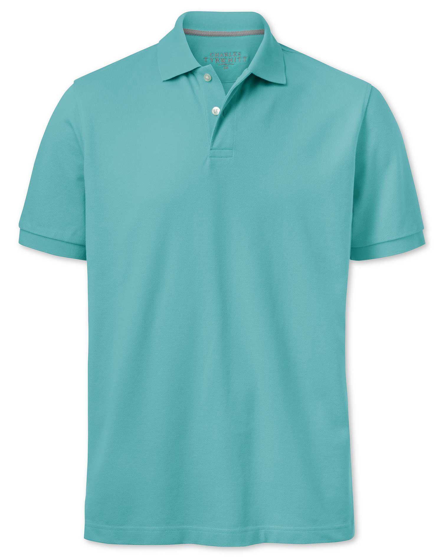 Turquoise Pique Cotton Polo Size Large by Charles Tyrwhitt