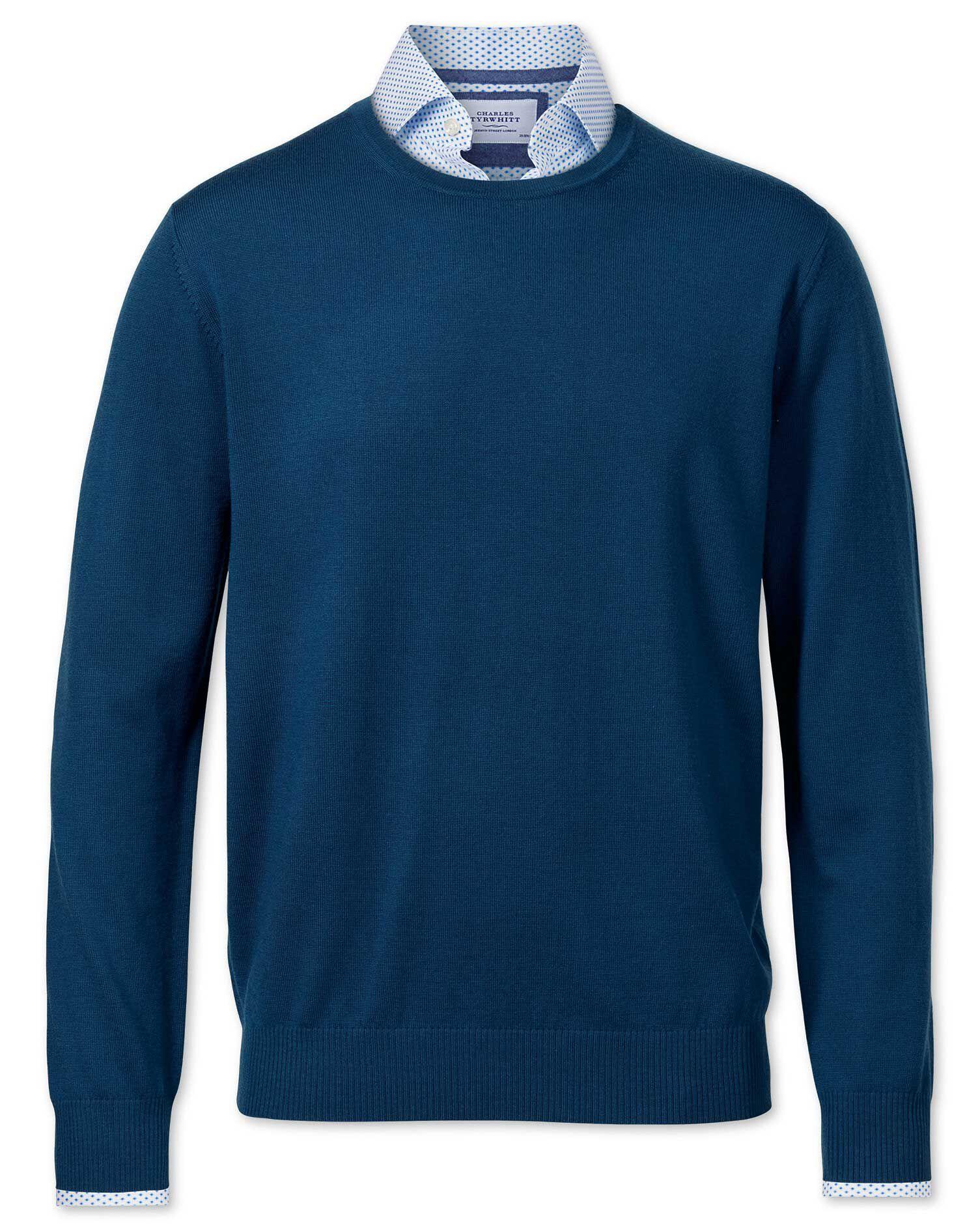 Blue Merino Wool Crew Neck Jumper Size XXL by Charles Tyrwhitt