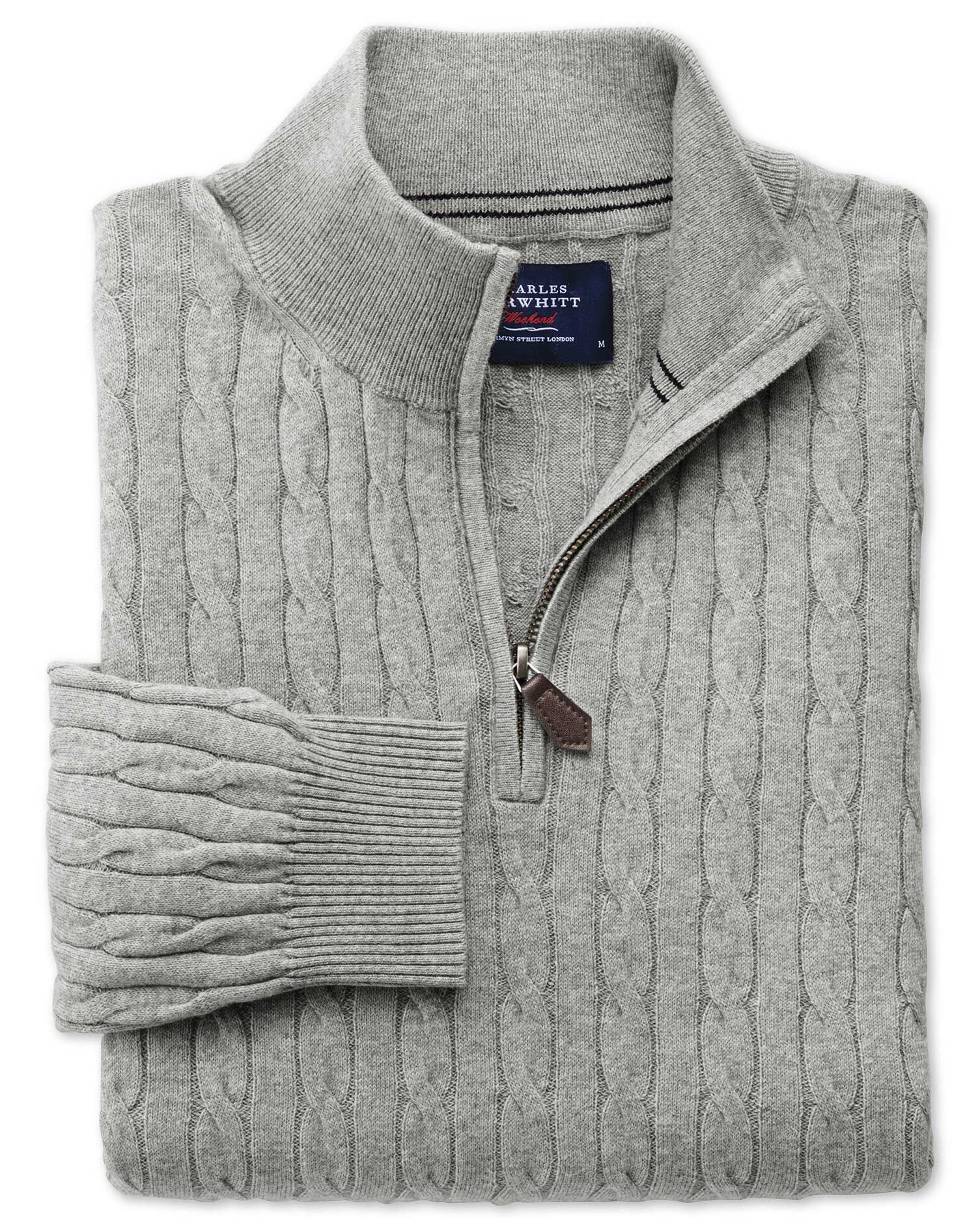 Light Grey Cotton Cashmere Cable Zip Neck Jumper Size XL by Charles Tyrwhitt