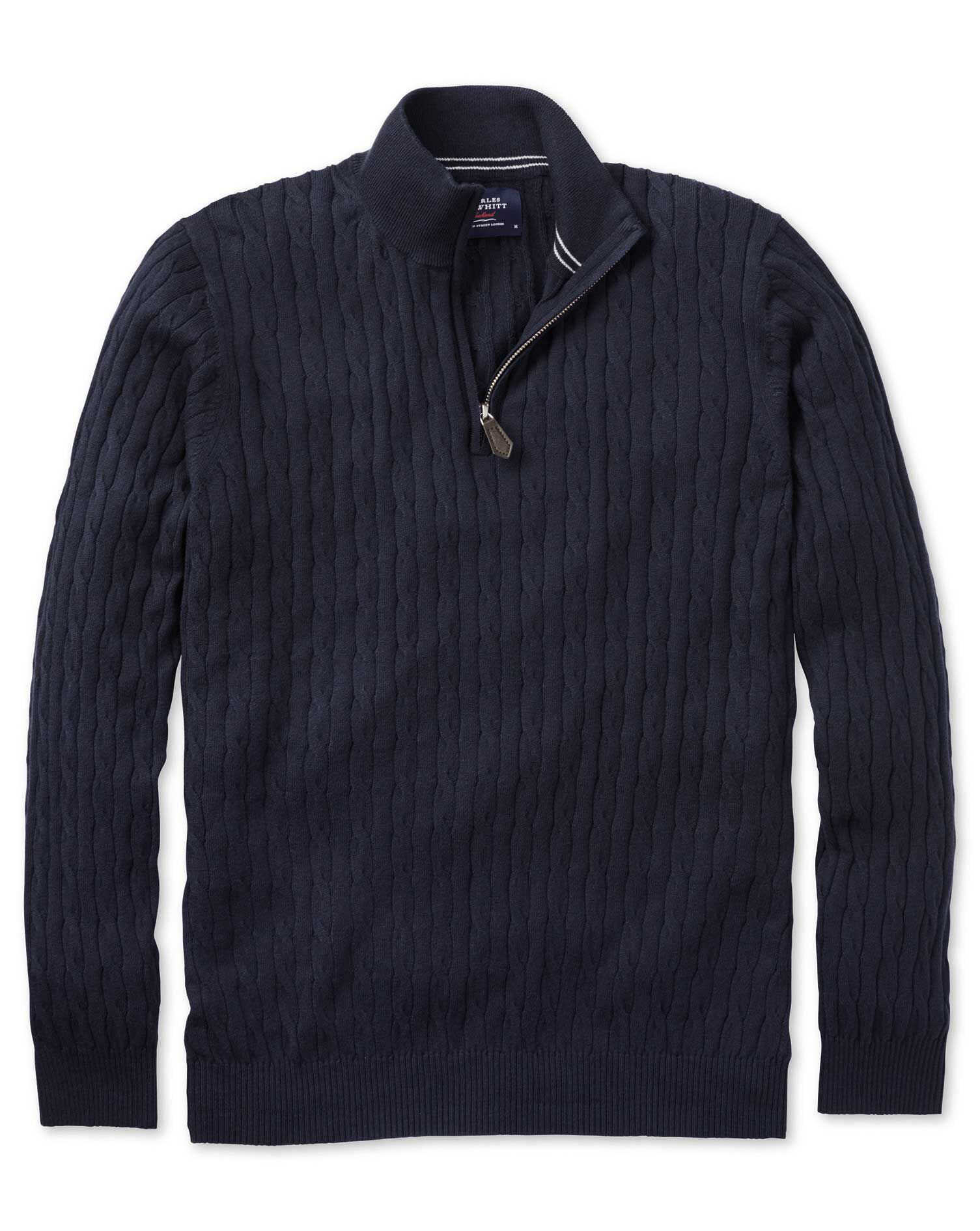 Navy Cotton Cashmere Cable Zip Neck Jumper Size XXL by Charles Tyrwhitt