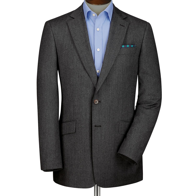 Grey Slim Fit Herringbone Wool Blazer Size 44 Regular by Charles Tyrwhitt
