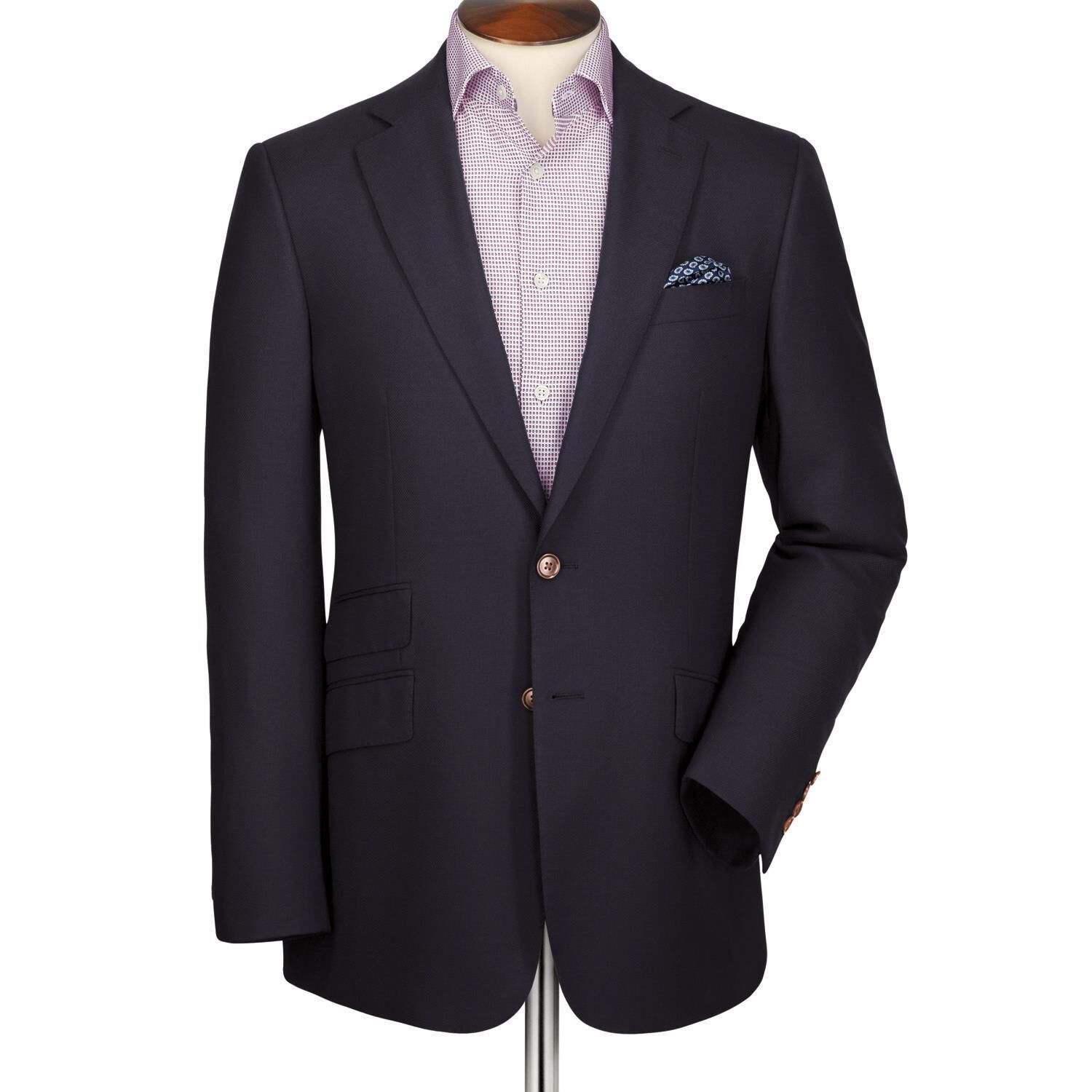 Navy Classic Fit Textured Wool Wool Blazer Size 42 Regular by Charles Tyrwhitt