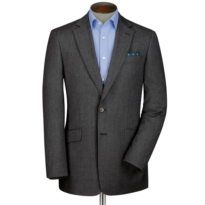 Grey Classic Fit Herringbone Wool Blazer Size 40 Regular by Charles Tyrwhitt