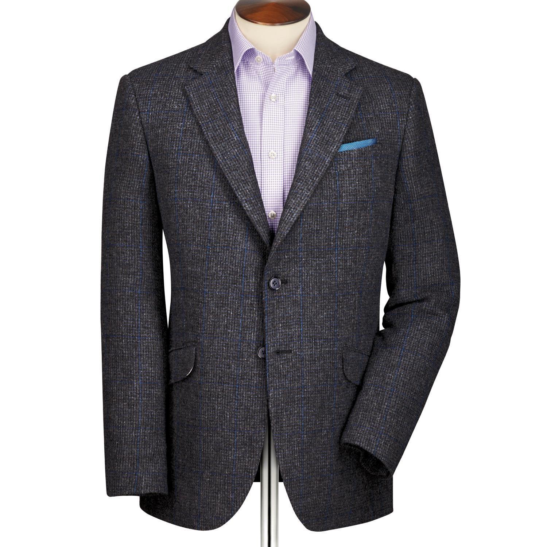 Grey Classic Fit Windowpane British Tweed Wool Jacket Size 46 Regular by Charles Tyrwhitt