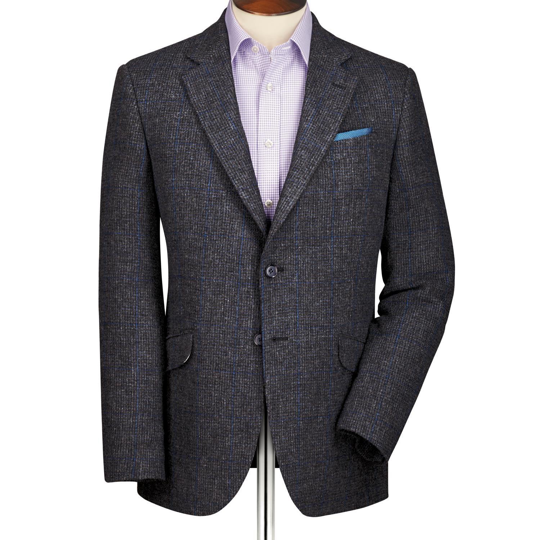Grey Slim Fit Windowpane British Tweed Wool Jacket Size 40 Long by Charles Tyrwhitt