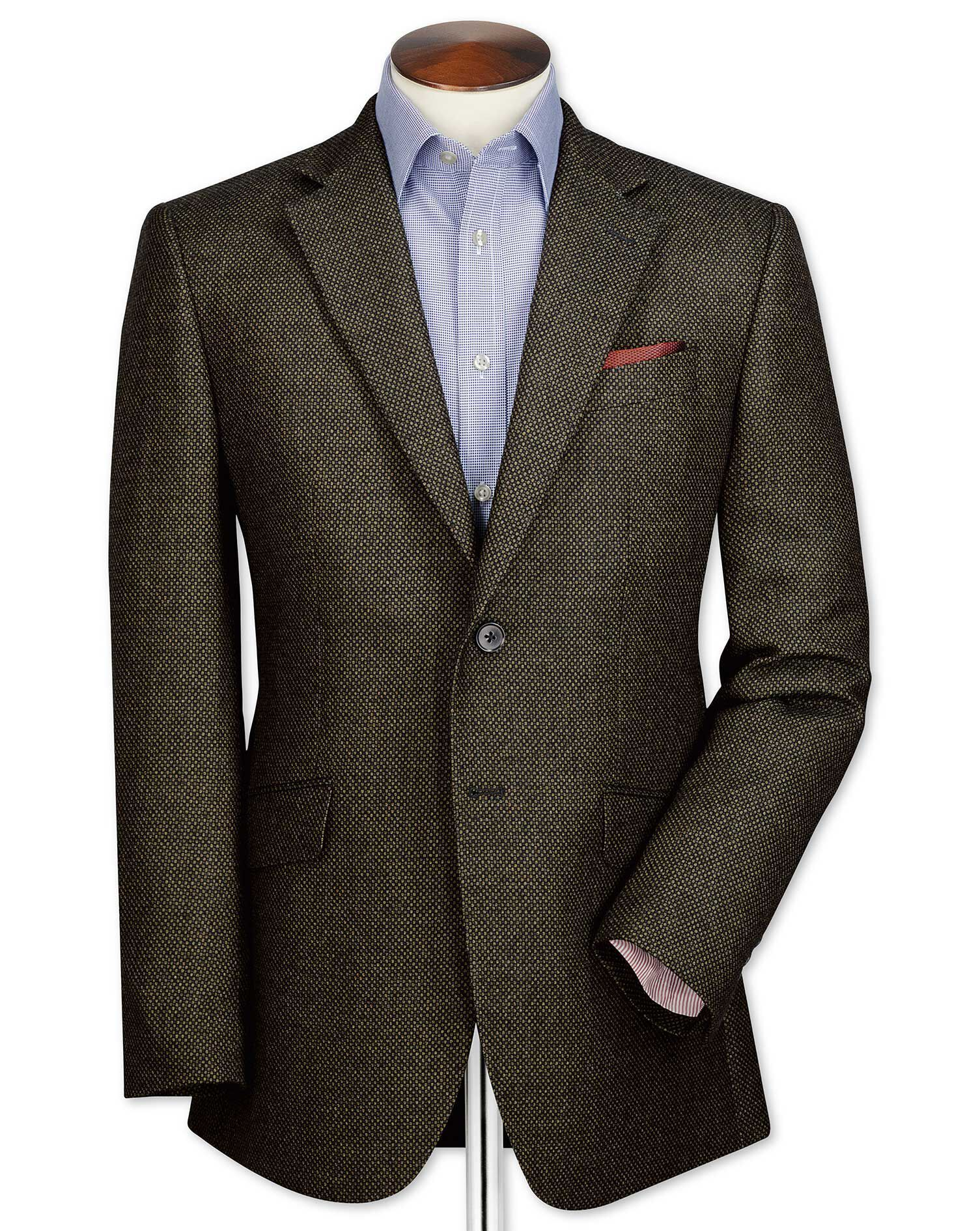 Slim Fit Olive Birdseye Lambswool Wool Jacket Size 46 Long by Charles Tyrwhitt