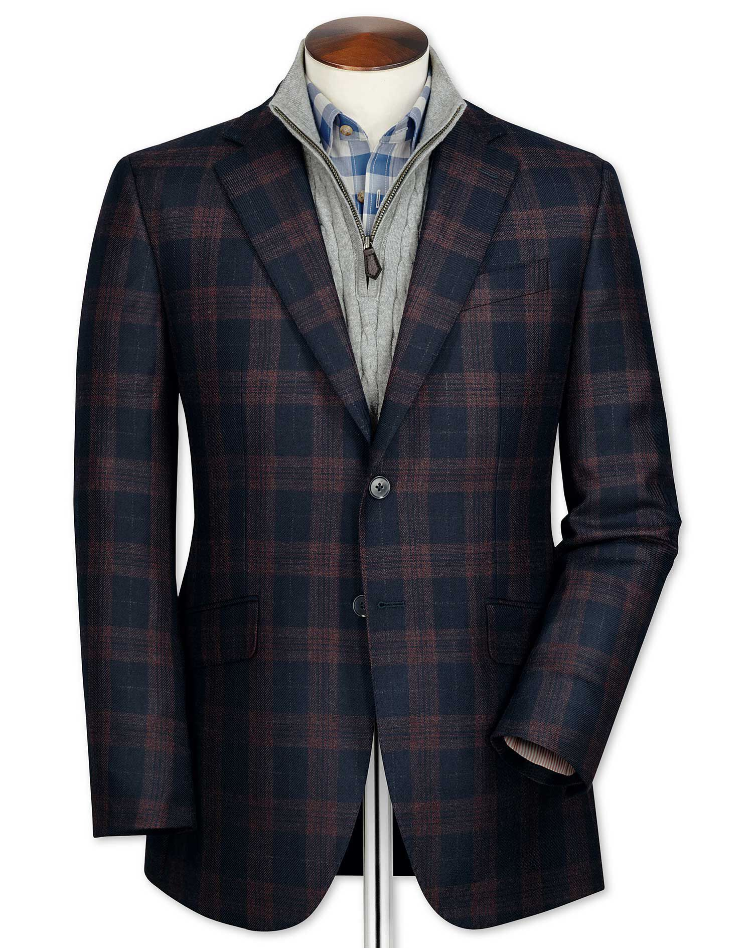 Slim Fit Navy Checkered Lambswool Wool Jacket Size 36 Short by Charles Tyrwhitt