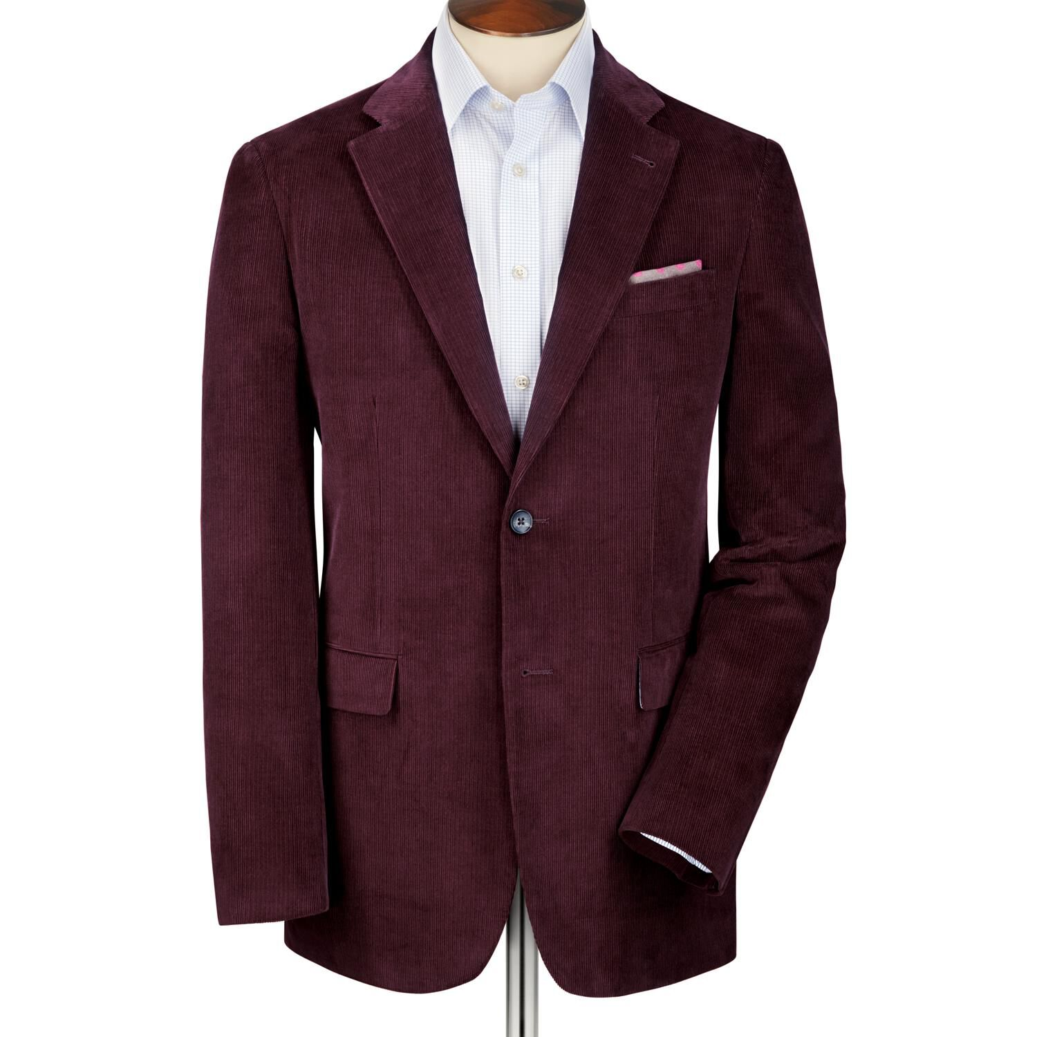 Grape Slim Fit Cord Unstructured Cotton Jacket Size 40 Regular by Charles Tyrwhitt