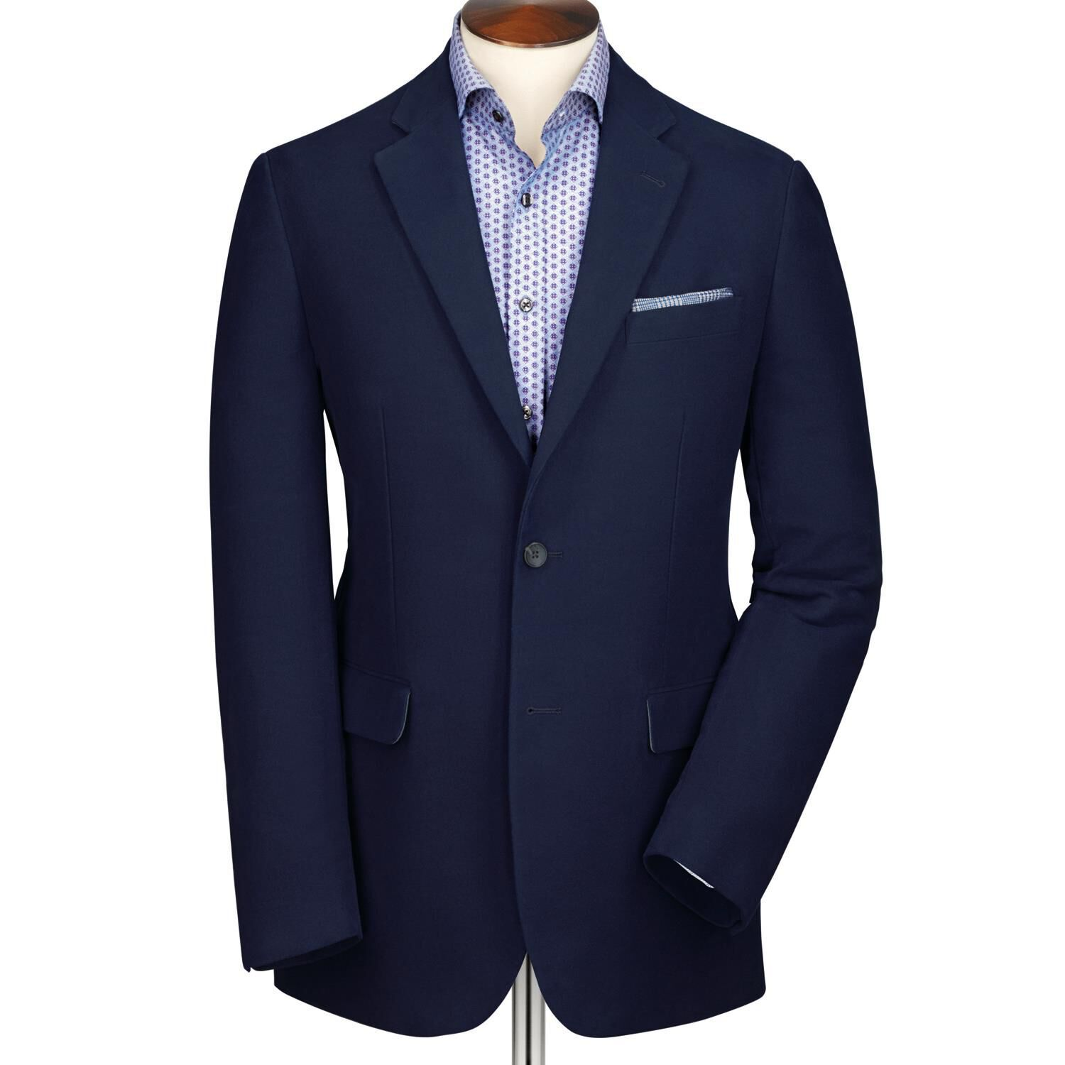 Navy Classic Fit Moleskin Unstructured Cotton Jacket Size 48 Regular by Charles Tyrwhitt