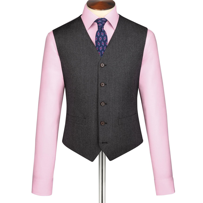 Grey Herringbone WaistWool coat Size 46 R by Charles Tyrwhitt