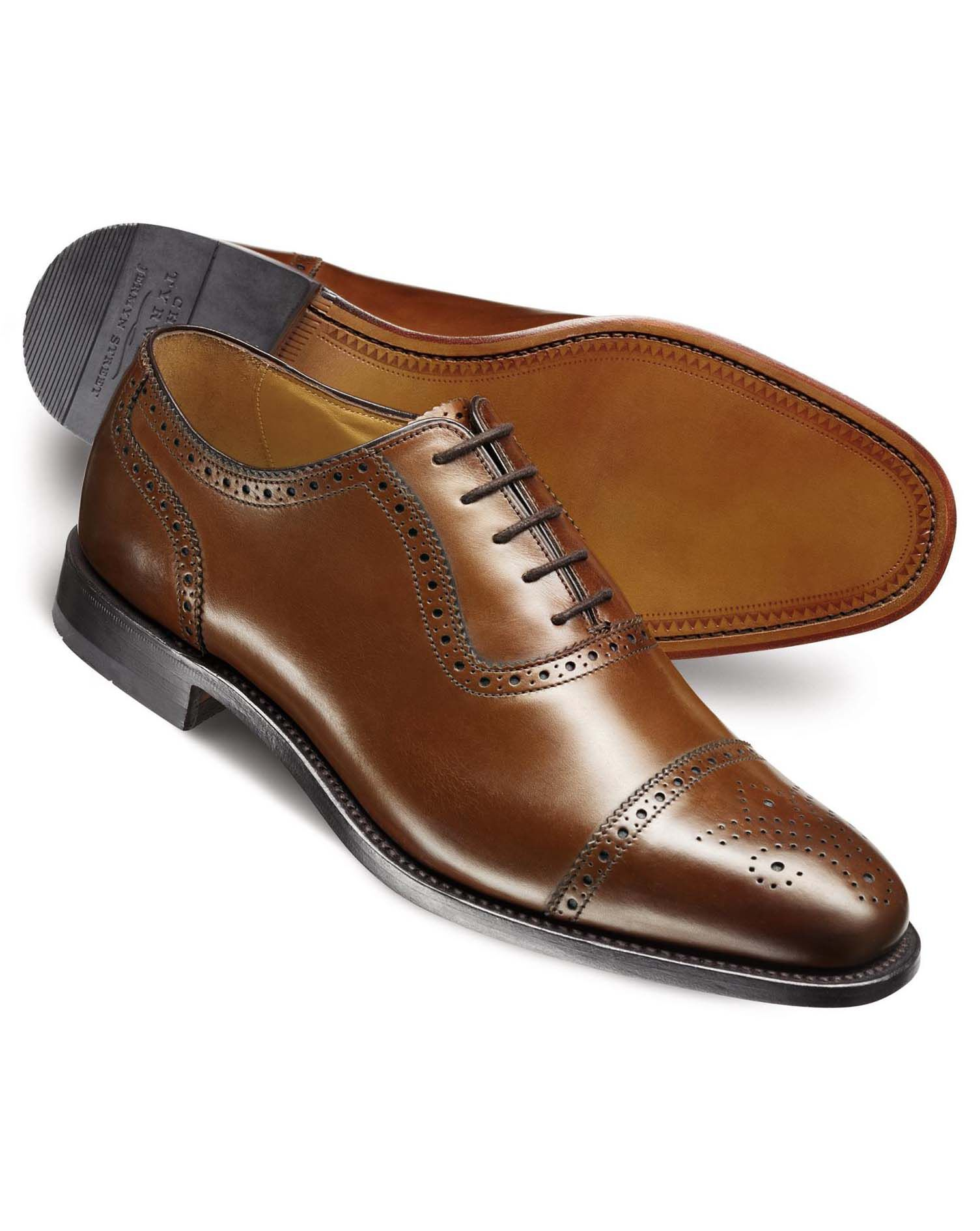 Brown Clarence Toe Cap Brogue Shoes Size 6.5 W by Charles Tyrwhitt