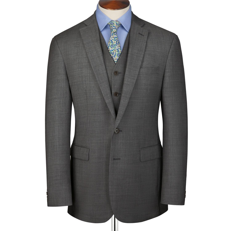 Grey Slim Fit Sharkskin Business Suit Wool Jacket Size 44 Regular by Charles Tyrwhitt