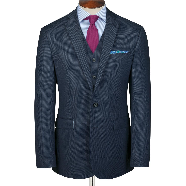 Mid Blue Slim Fit Birdseye Business Suit Wool Jacket Size 42 Regular by Charles Tyrwhitt