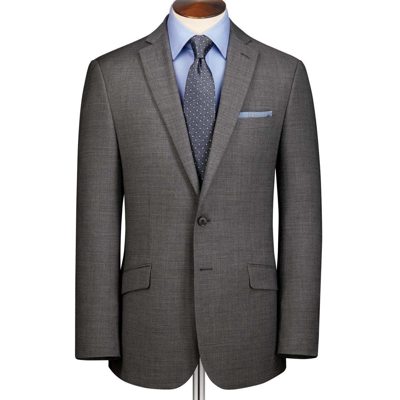 Grey Sharkskin Slim Fit Business Suit Wool Jacket Size 40 Regular by Charles Tyrwhitt