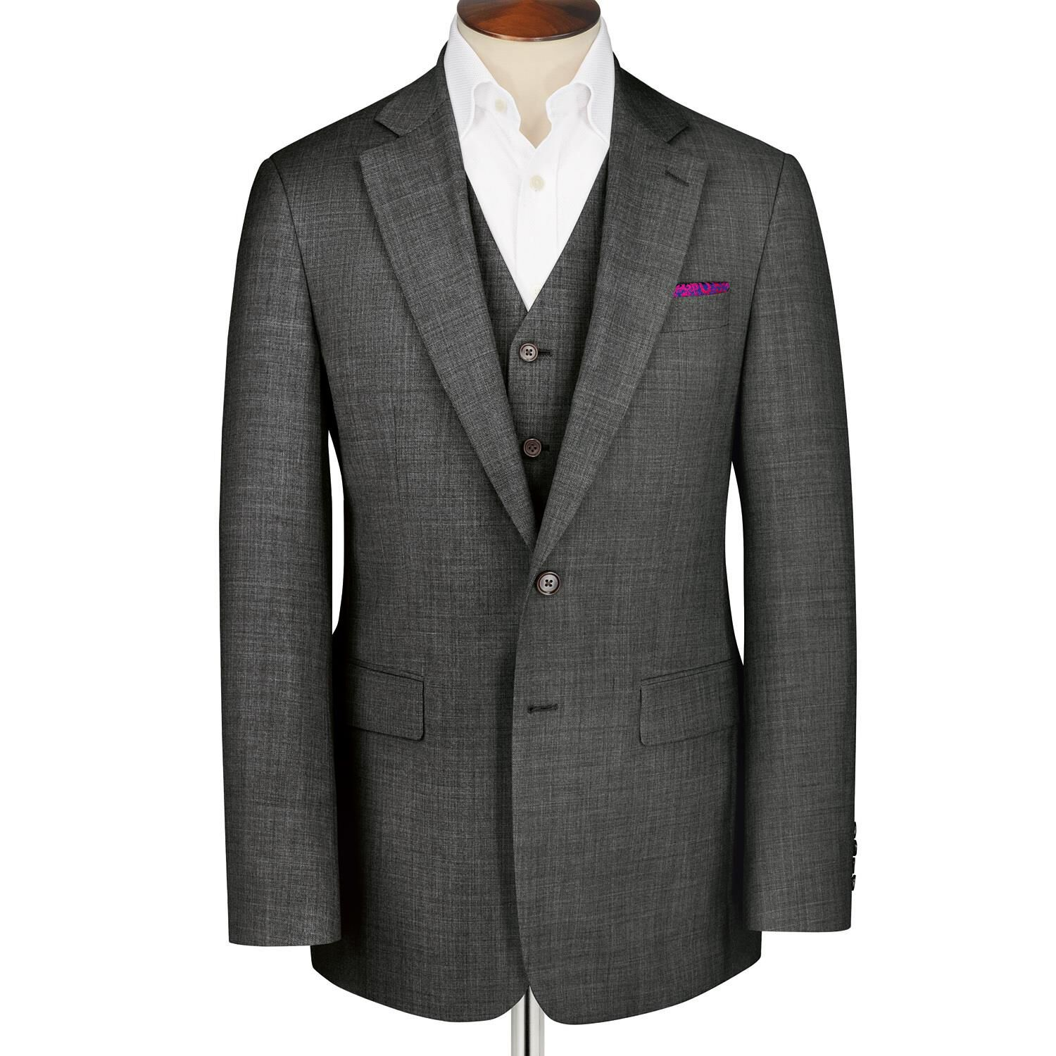 Grey Classic Fit Apsley Sharkskin Business Suit Super 100 Wool Jacket Size 38 Long by Charles Tyrwhi