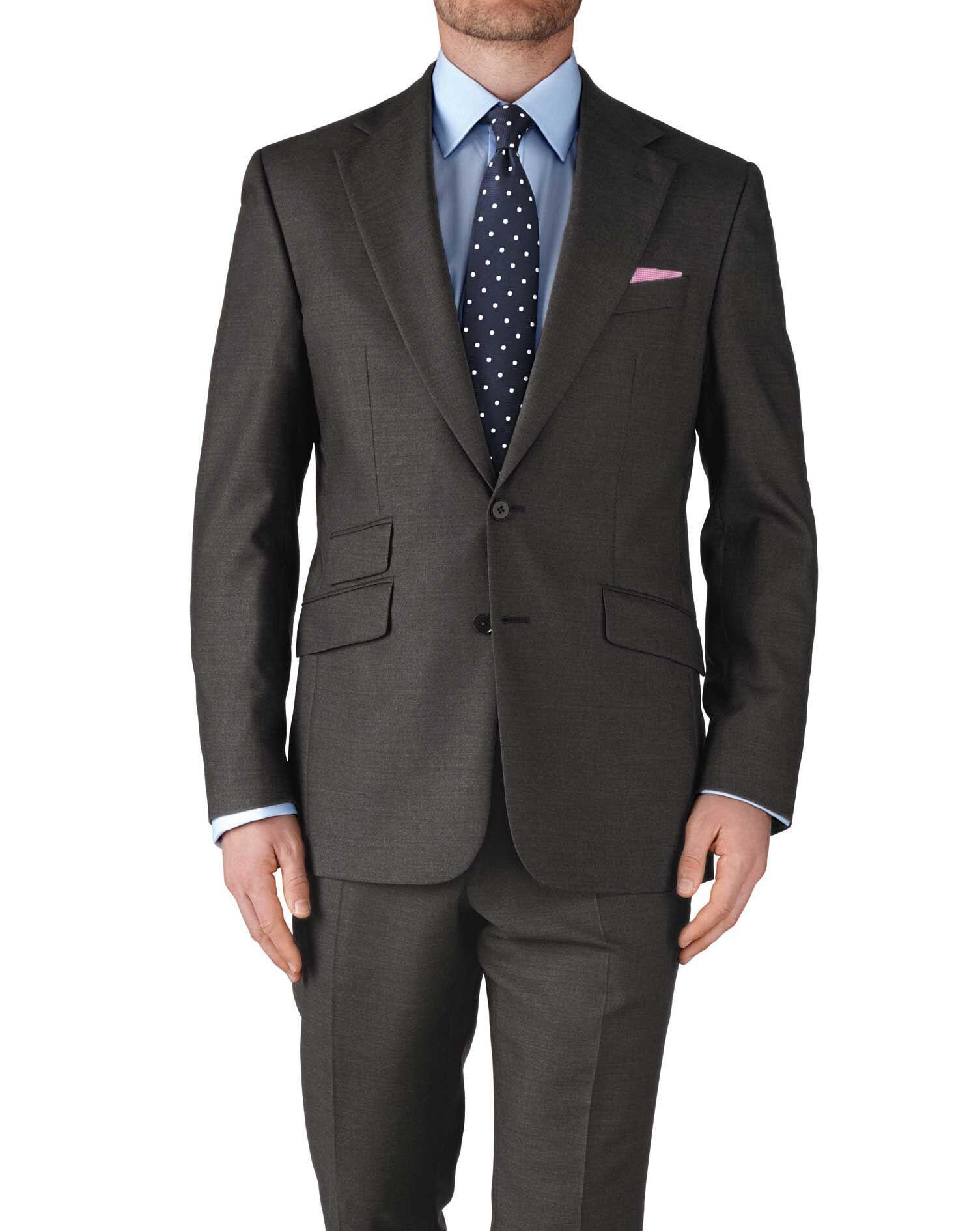 Dark Grey Slim Fit Basketweave Business Suit Wool Jacket Size 46 Long by Charles Tyrwhitt