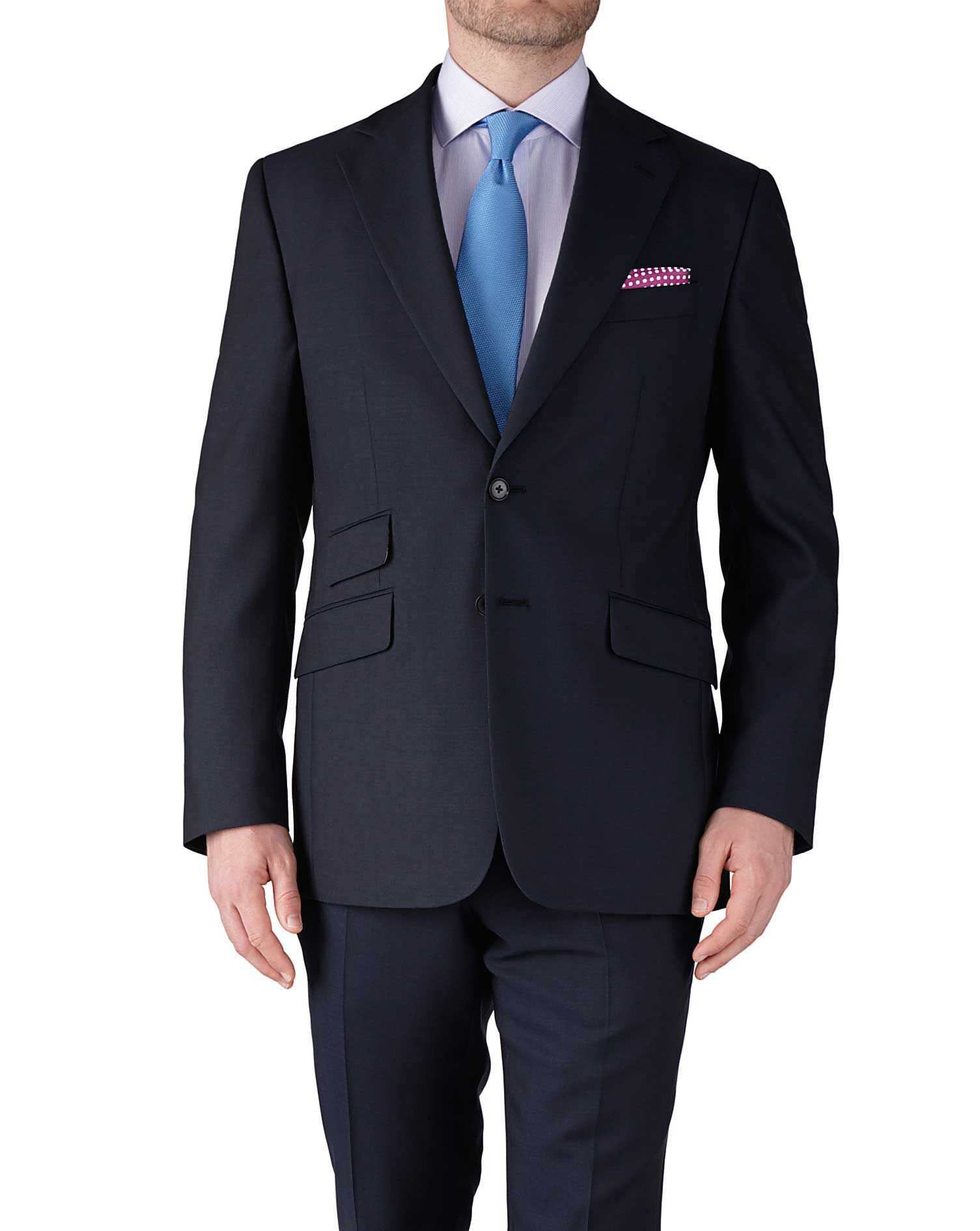 Navy Blue Slim Fit Basketweave Business Suit Trousers Size W30 L38 by Charles Tyrwhitt