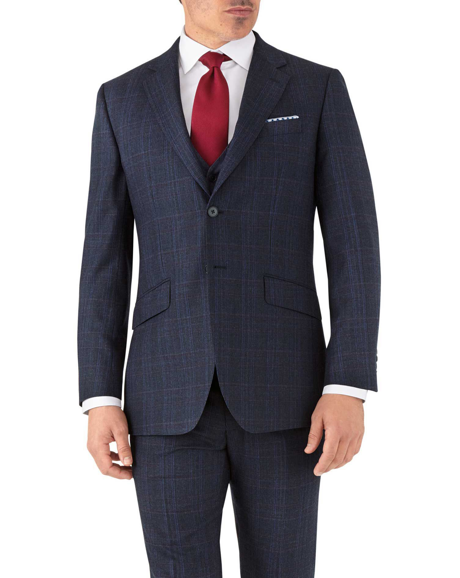 Blue Prince Of Wales Slim Fit Flannel Business Suit Wool Jacket Size 38 Long by Charles Tyrwhitt