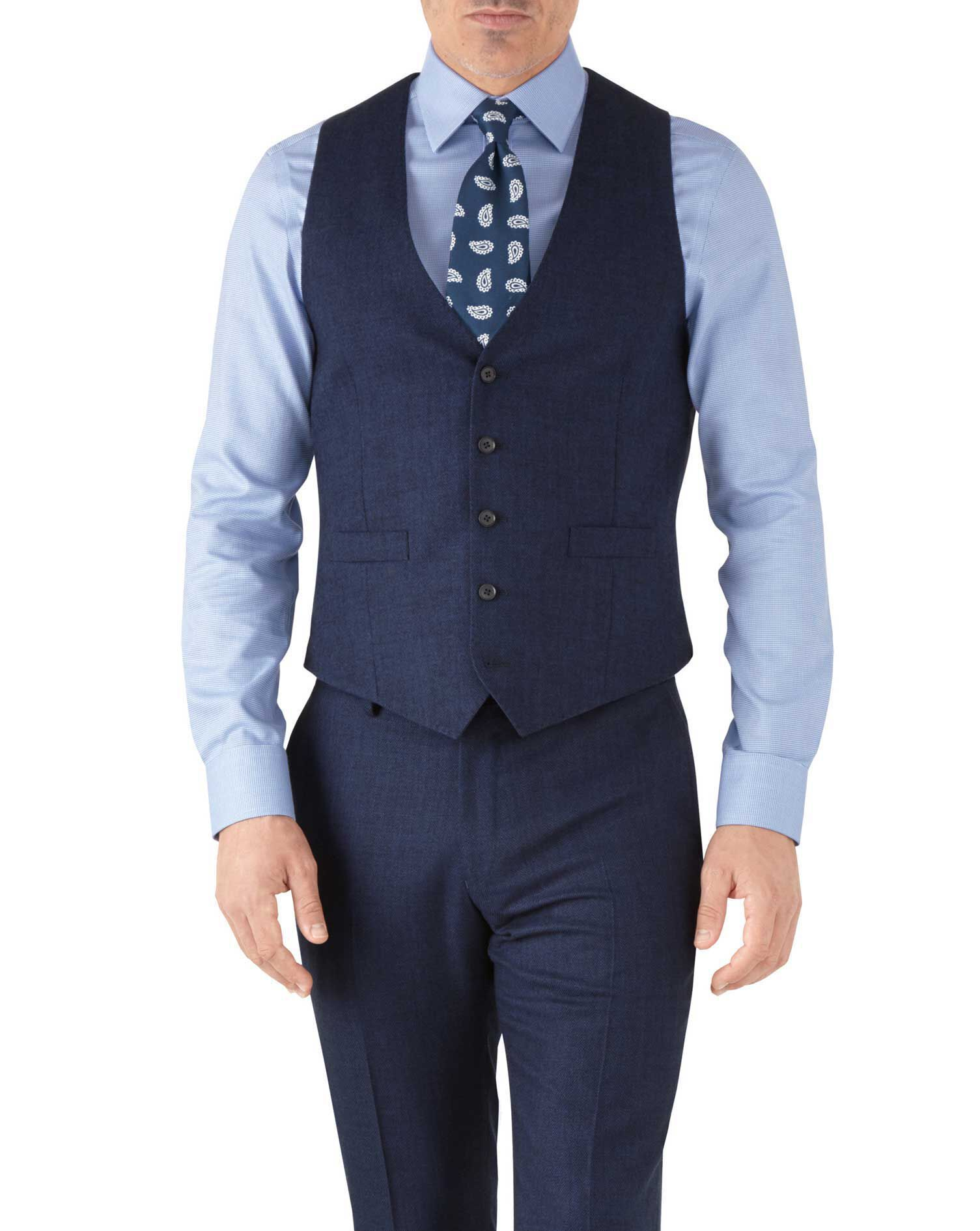Royal Blue Adjustable Fit Flannel Business Suit Wool Waistcoat Size w42 by Charles Tyrwhitt