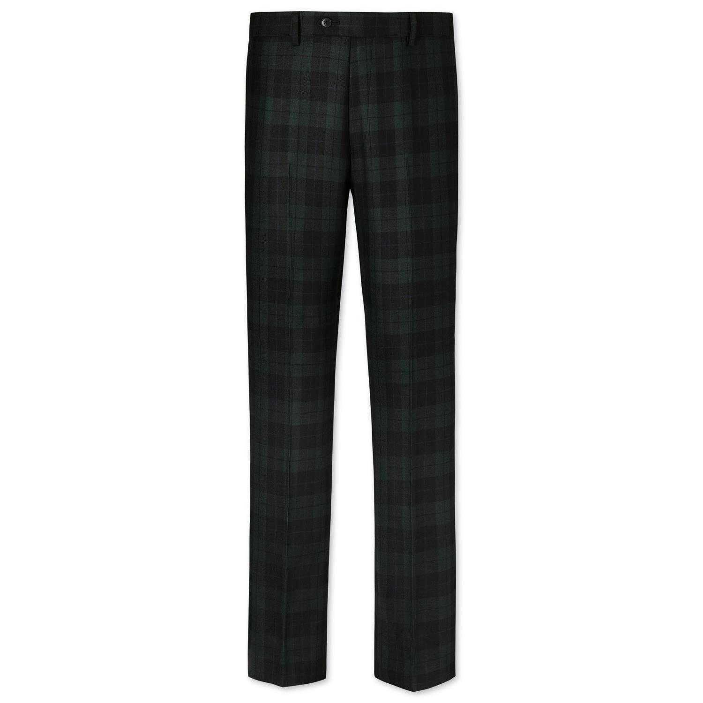 Green and Black Slim Fit Tartan Trousers Size W34 L34 by Charles Tyrwhitt