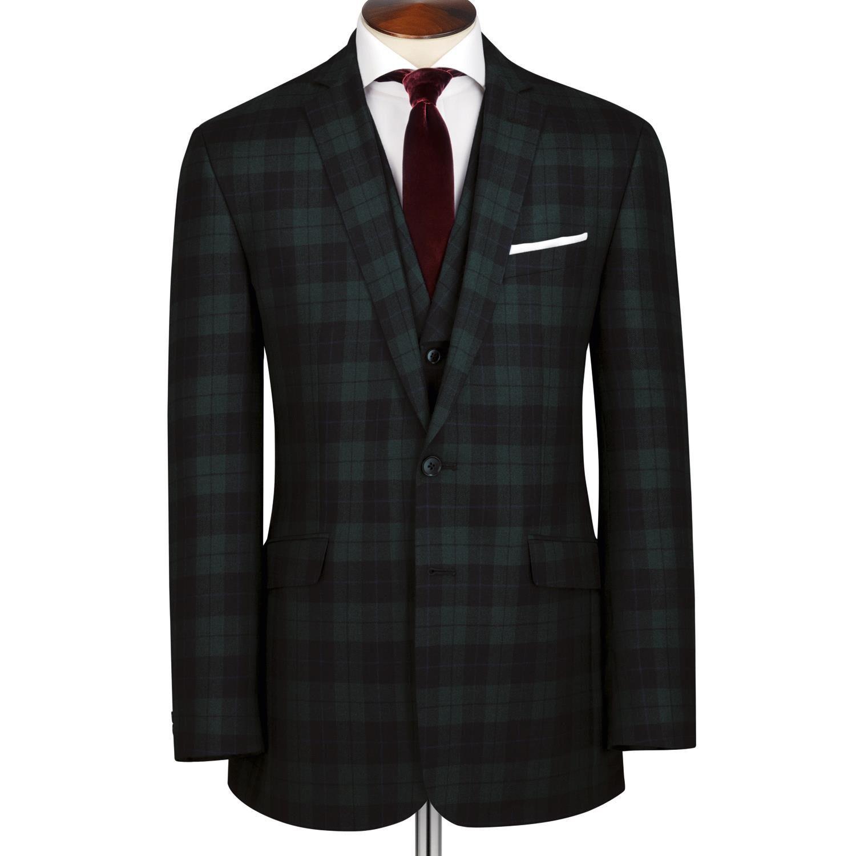 Green and Black Tartan Slim Fit Wool Jacket Size 38 Long by Charles Tyrwhitt