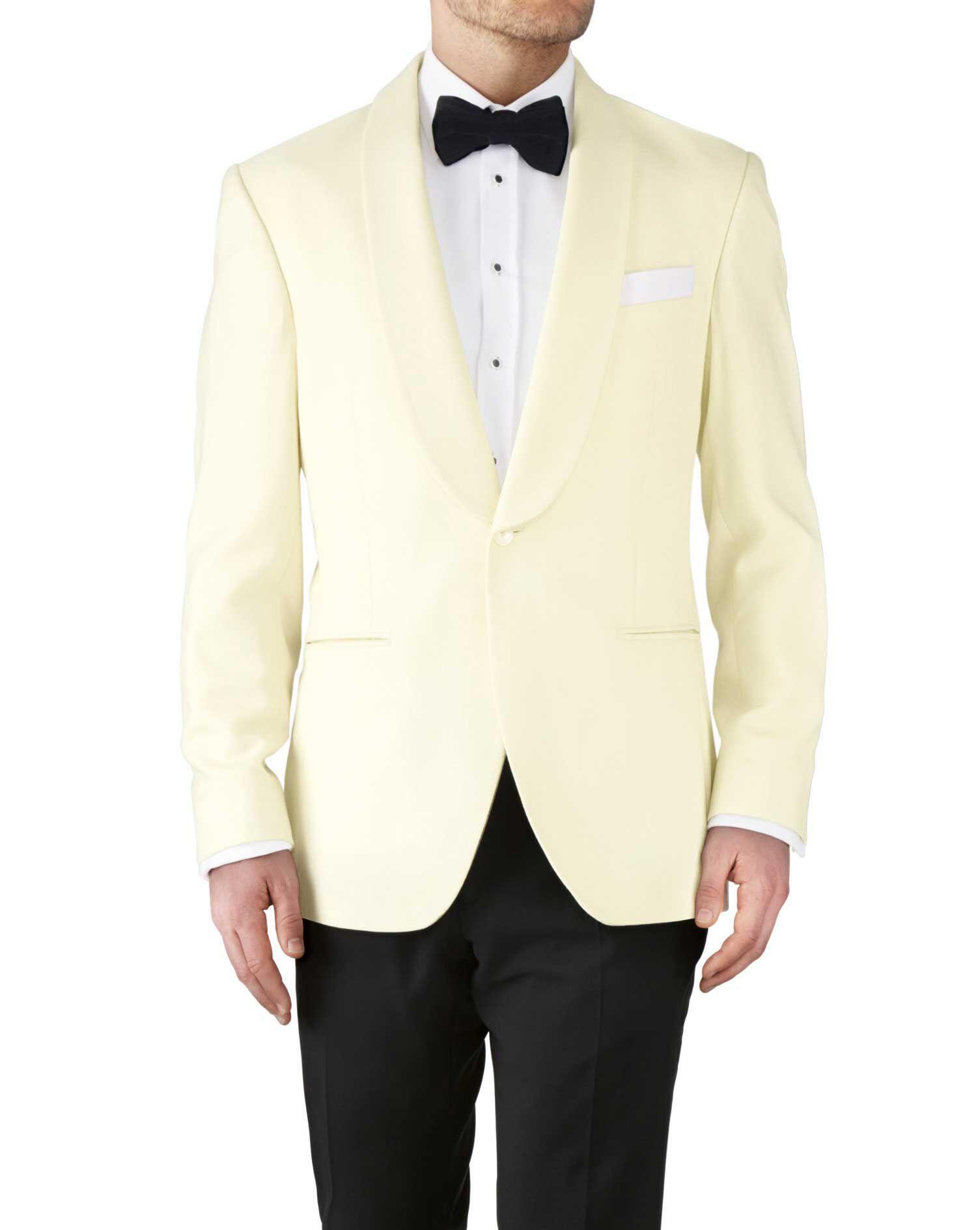 Cream Slim Fit Shawl Collar Tuxedo Super 110 Wool Jacket Size 40 Regular by Charles Tyrwhitt