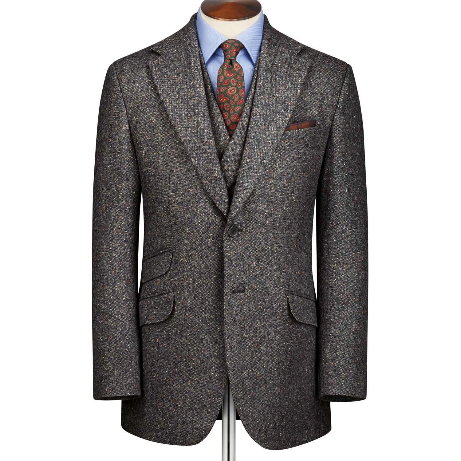 Grey Slim Fit Donegal Tweed Wool Jacket Size 40 by Charles Tyrwhitt
