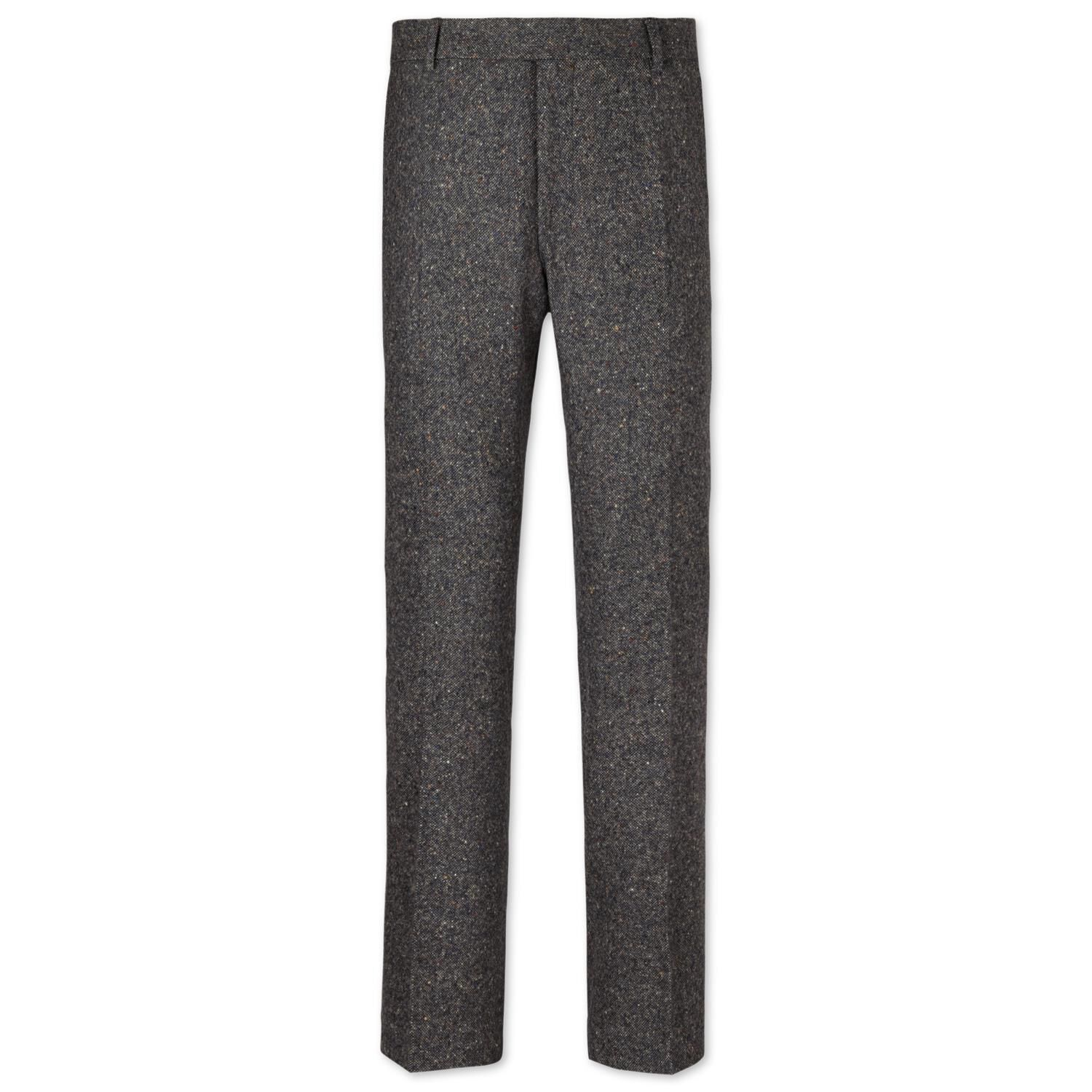 Grey Slim Fit Donegal Tweed Trousers Size W34 L38 by Charles Tyrwhitt