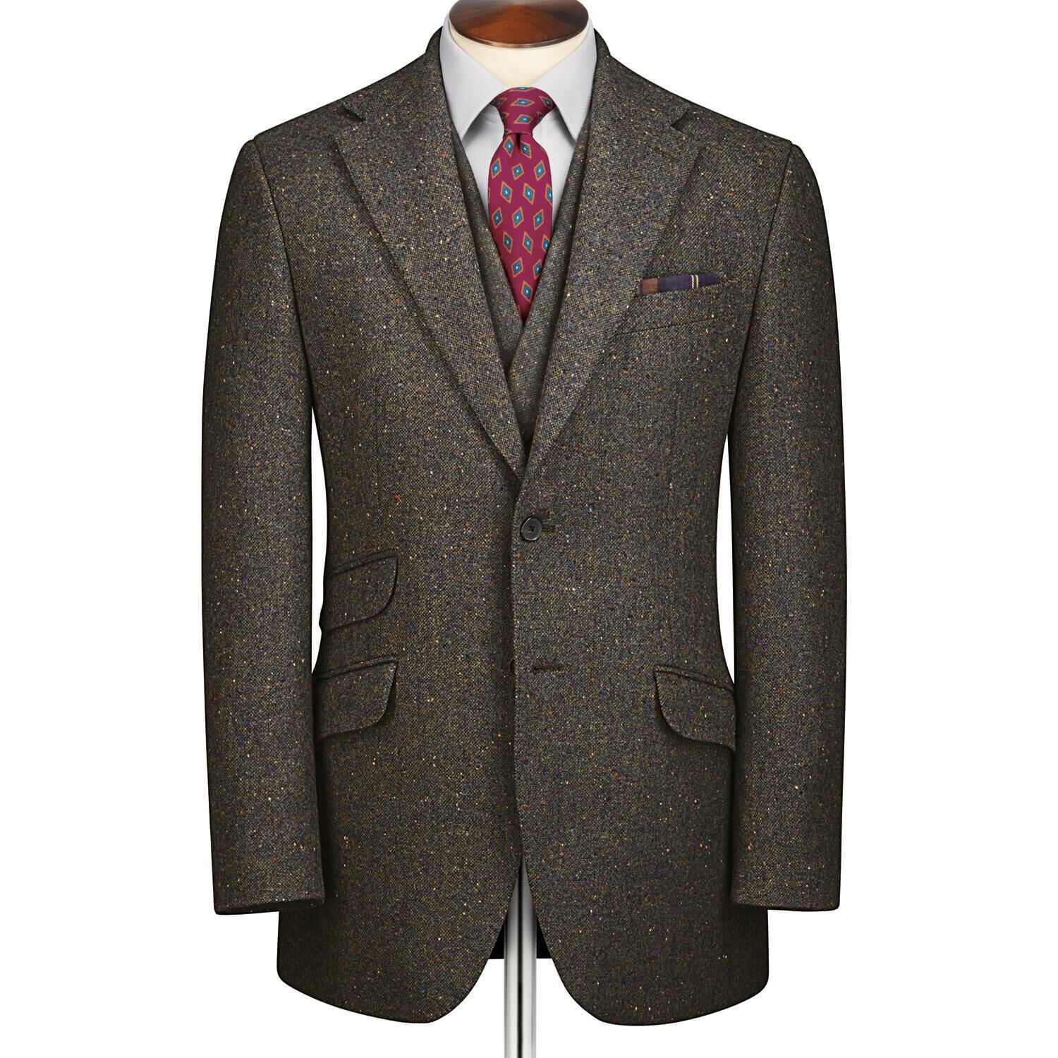 Green Slim Fit Donegal Tweed Wool Jacket Size 40 Short by Charles Tyrwhitt