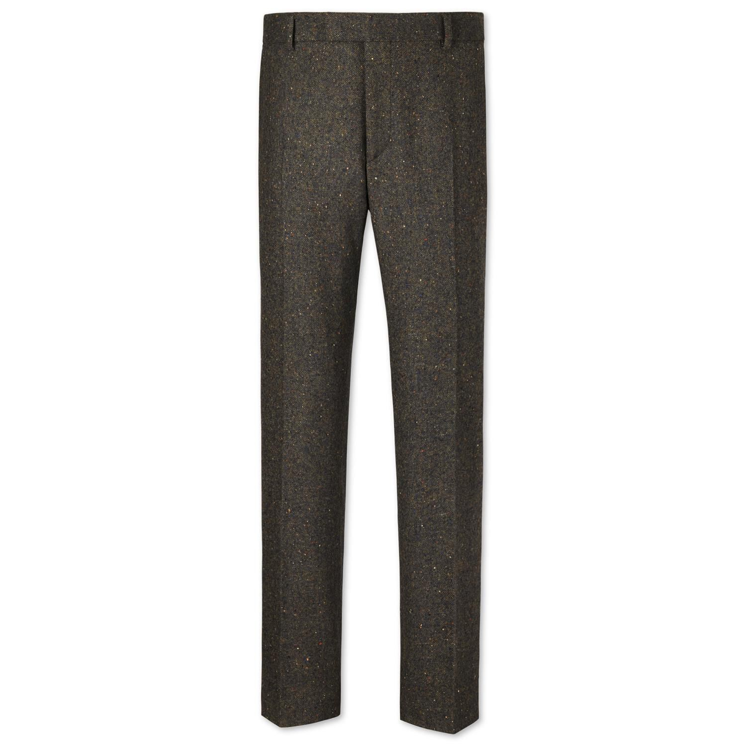 Green Slim Fit Donegal Tweed Trousers Size W38 L32 by Charles Tyrwhitt