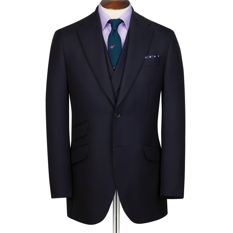 Navy Slim Fit British Hopsack Luxury Suit Wool Jacket Size 42 Short by Charles Tyrwhitt