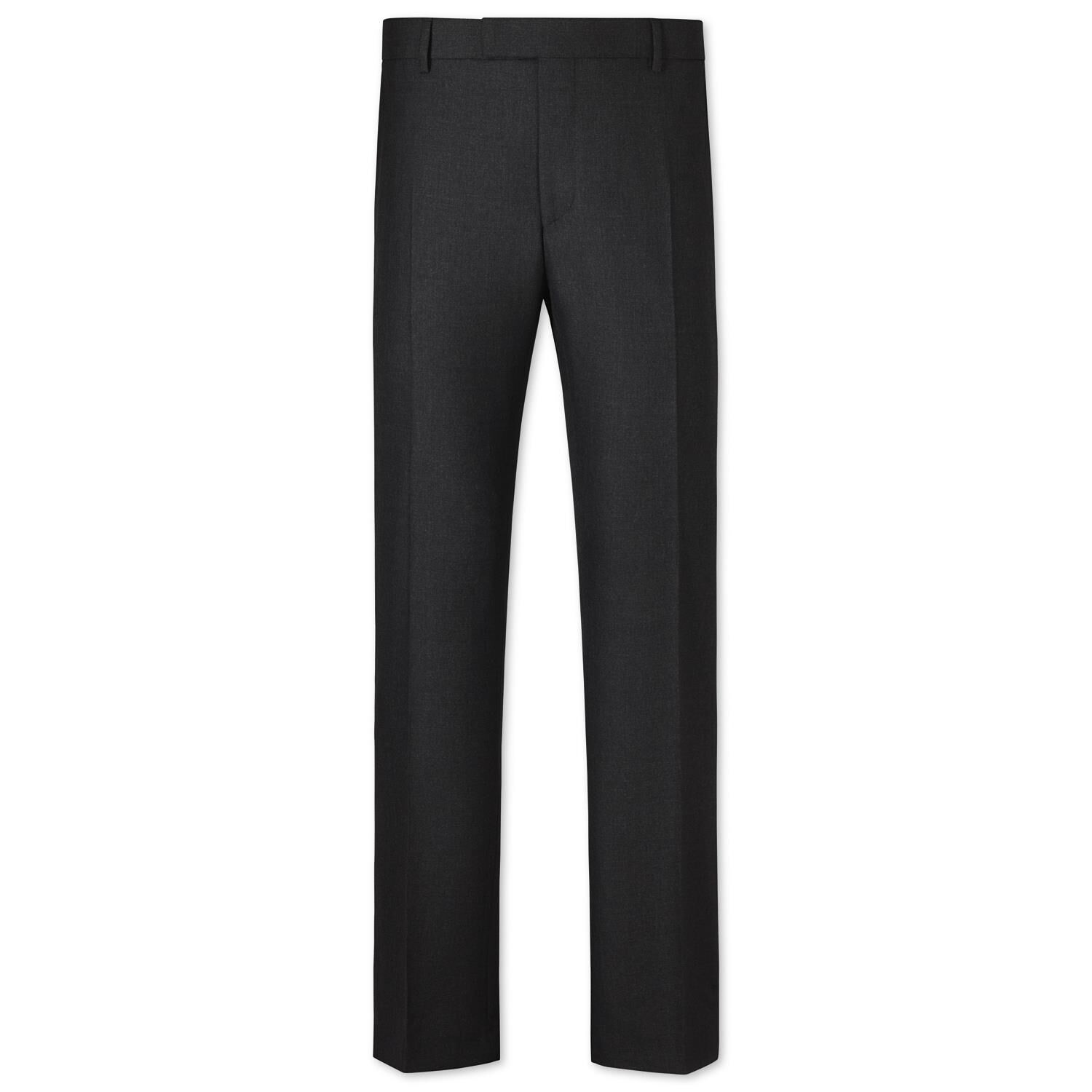 Charcoal Slim Fit British Hopsack Luxury Suit Trousers Size W34 L32 by Charles Tyrwhitt