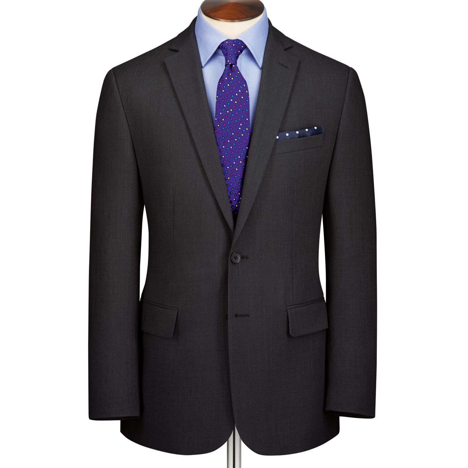 Charcoal Slim Fit Crowsfoot Business Suit Wool Jacket Size 44 Long by Charles Tyrwhitt