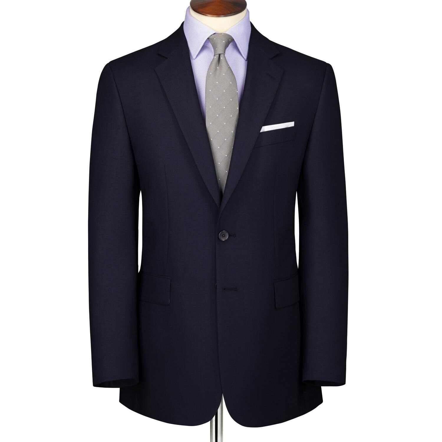 Navy Classic Fit Herringbone Suit Wool Jacket Size 38 by Charles Tyrwhitt