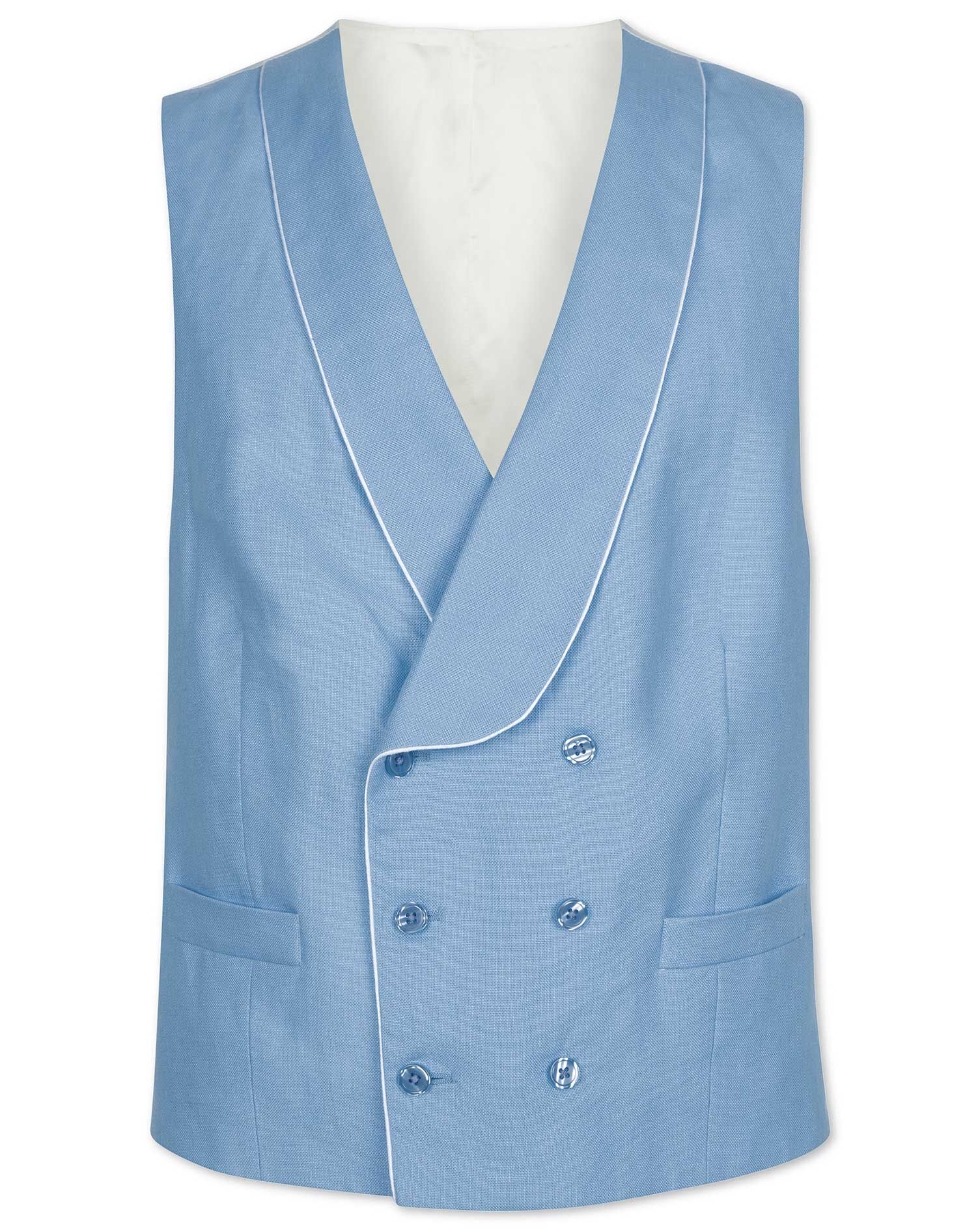 1920s Style Mens Vests Blue Morning Suit Linen Waistcoat Size w48 by Charles Tyrwhitt £140.00 AT vintagedancer.com