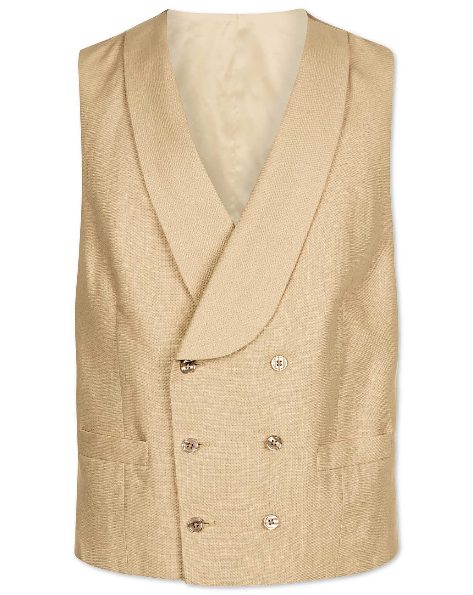 1920s Style Mens Vests Buff Linen Morning Suit Waistcoat Size w48 by Charles Tyrwhitt £160.00 AT vintagedancer.com