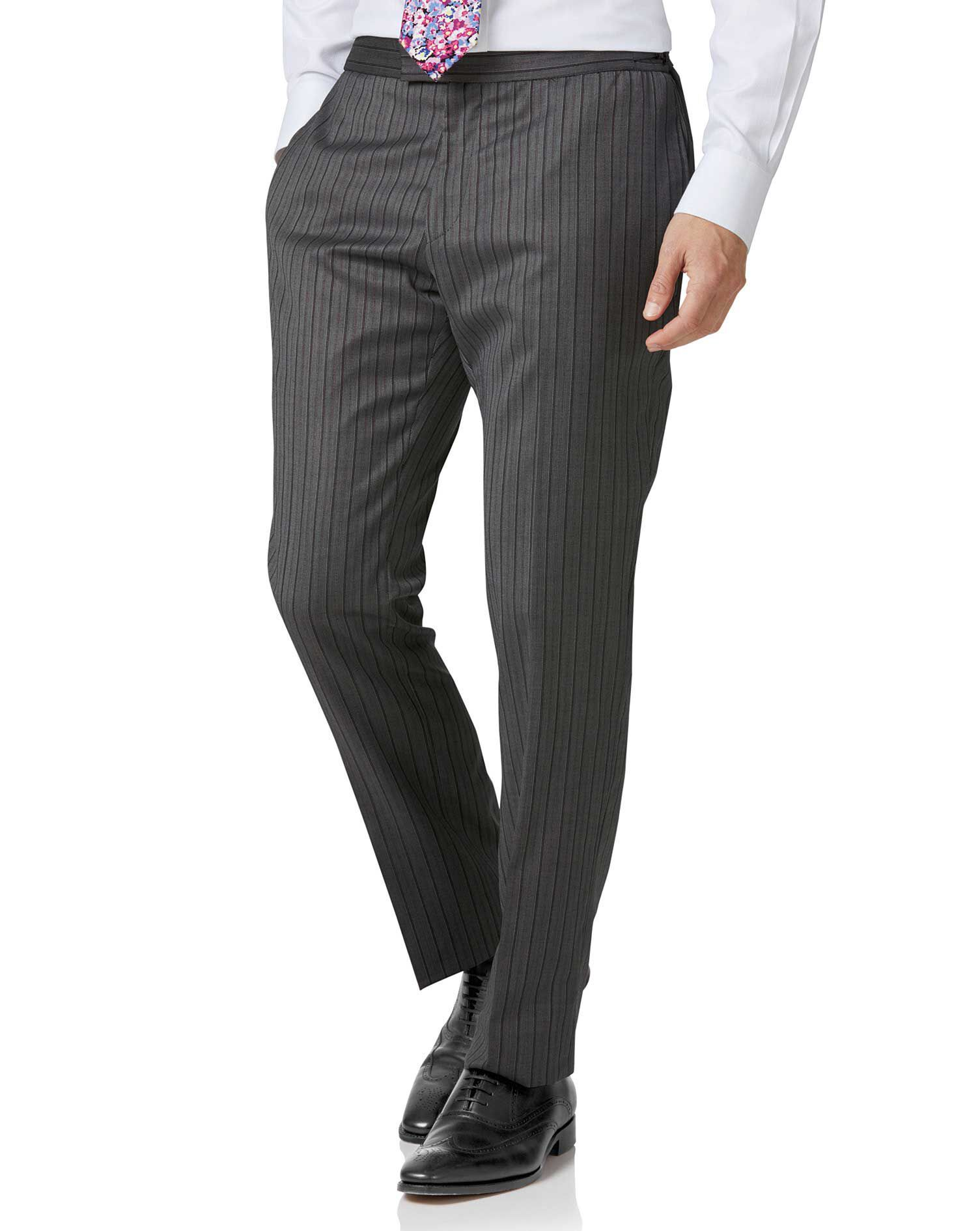 1920s Style Men's Pants & Plus Four Knickers Charles Tyrwhitt Charcoal slim fit morning suit trousers £120.00 AT vintagedancer.com