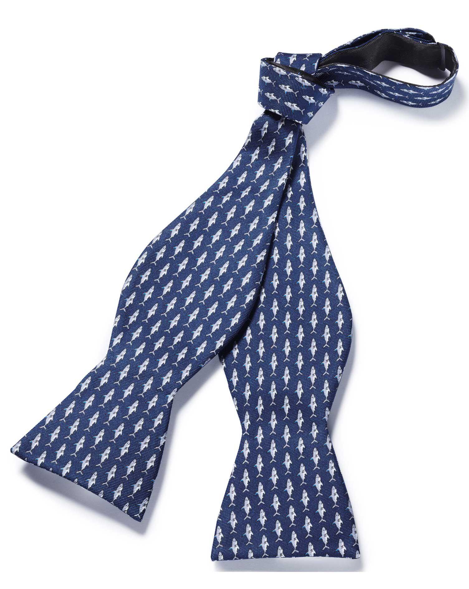 Navy Shark Print Self Tie Silk Bow Tie Size OSFA by Charles Tyrwhitt