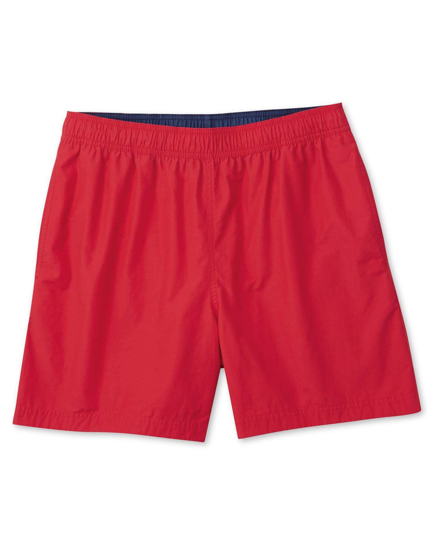 Red Cotton Swim Shorts Size Small by Charles Tyrwhitt