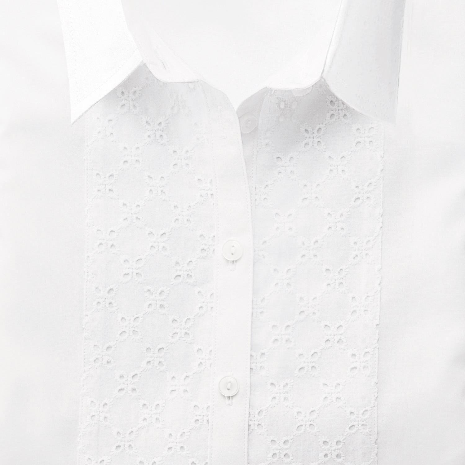 Charles Tyrwhitt Women's Semi-Fitted White Broderie Cotton Shirt Size 6