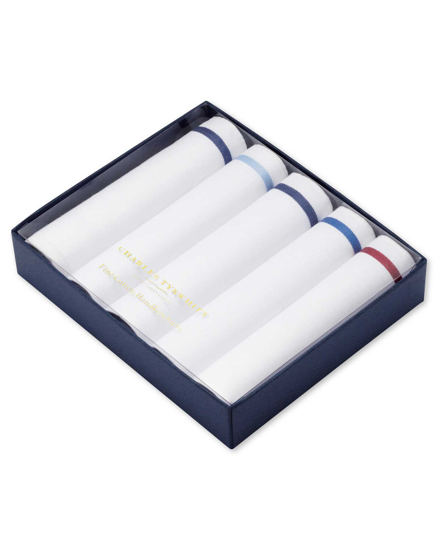 5 White Cotton Handkerchiefs by Charles Tyrwhitt