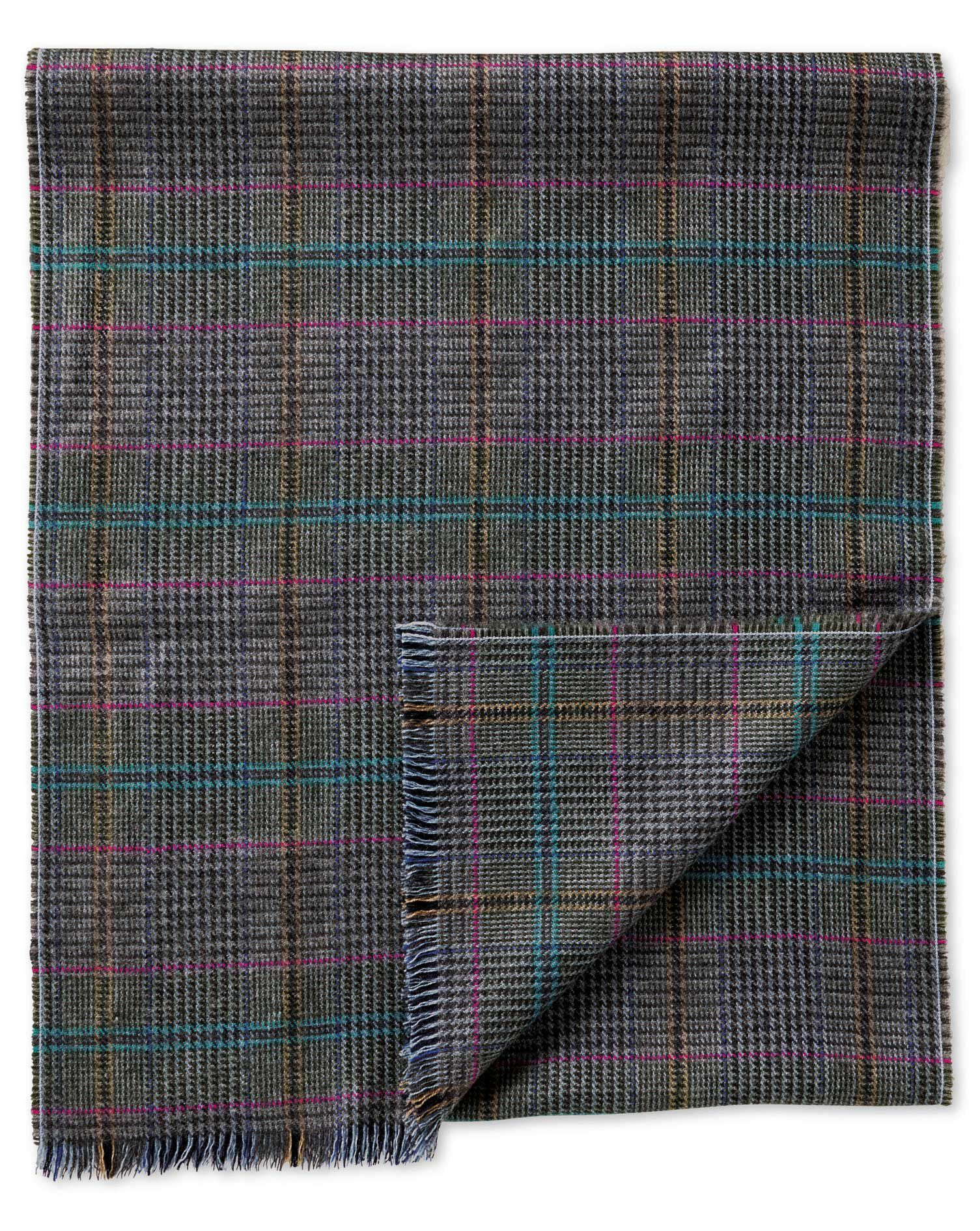 Multi Prince Of Wales Merino Scarf Size OSFA by Charles Tyrwhitt