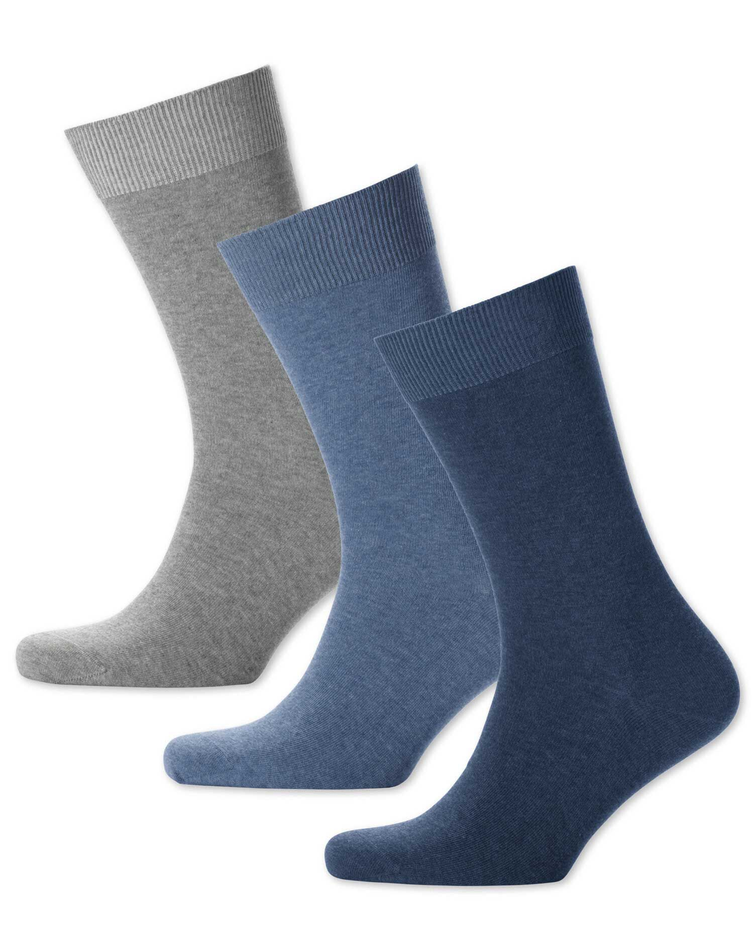 Blue Multi Cotton Rich 3 Pack Socks Size Large by Charles Tyrwhitt