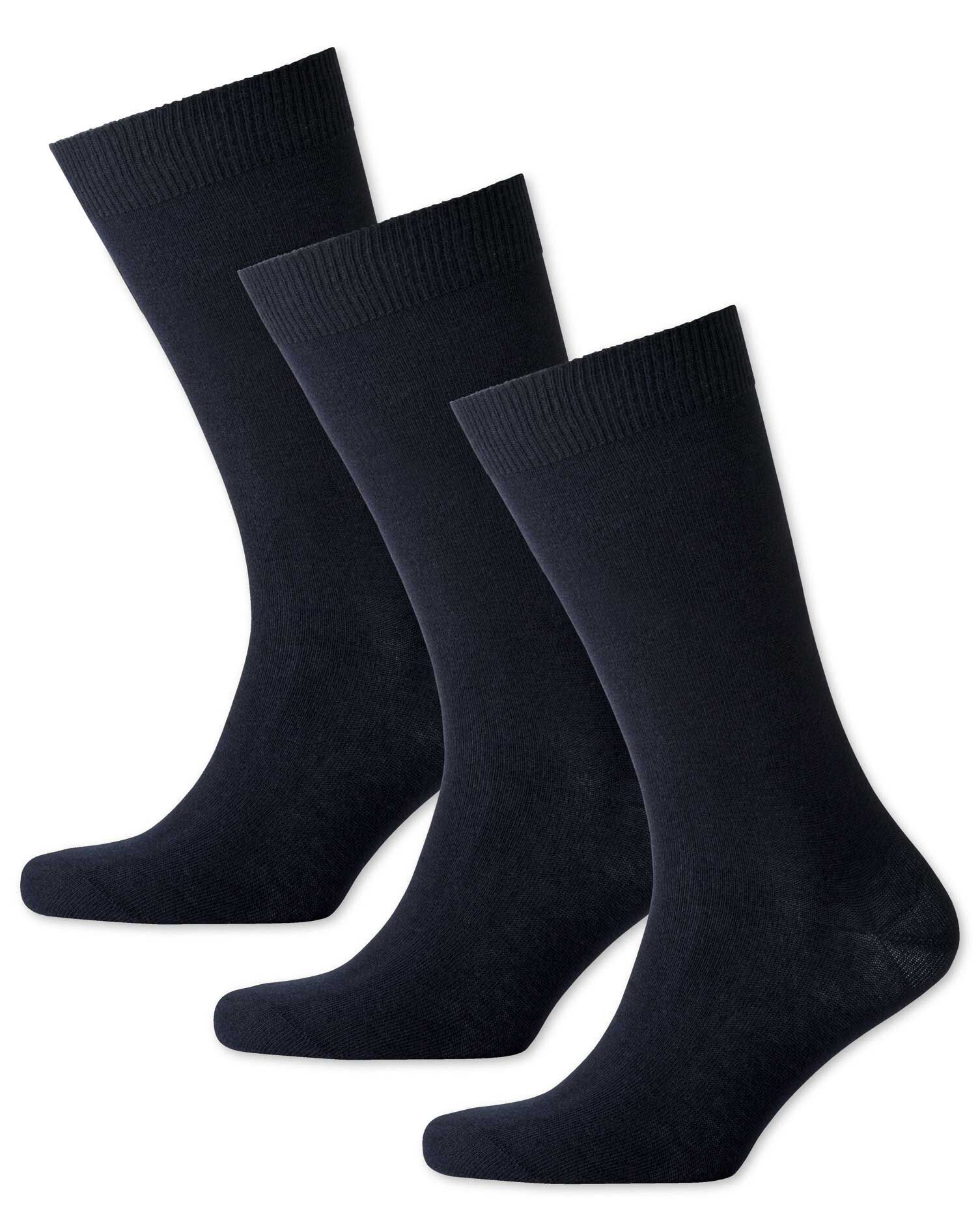 Navy Cotton Rich 3 Pack Socks Size Large by Charles Tyrwhitt